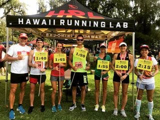 Michael Garrison, far left, is pictured with athletes he coaches who led pace groups at the Hibiscus Half Marathon earlier this year. Several are making a hand gesture called a shaka, which Garrison explained is one of many ways to say aloha in Hawaii.