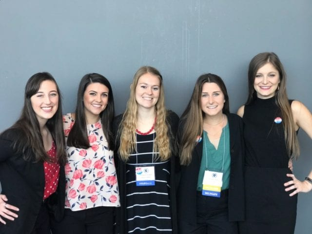 The Arkansas Nursing Students' Association elected to its board five University of Arkansas students: From left are new President Lauren Love, District 2 Rep. Logan DeKay, Vice President Mishann Leudders, LNEC Chair Bethany Selin and Treasurer Hailey Parker.