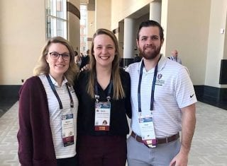 Kaitlyn McCracken (from left, Katherine Haarmann and Nathan Lonngren at the 2019 NIRSA national conference.