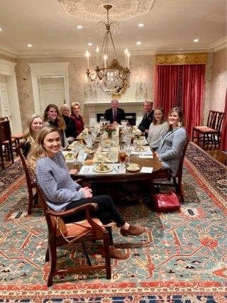 From left: Diana Cortes, Frances Holland, Sophie Spann, Holli Hutchinson, Susan Hutchinson, Asa Hutchinson, Colton Watson, Morgan McDaniel, Sheri Deaton