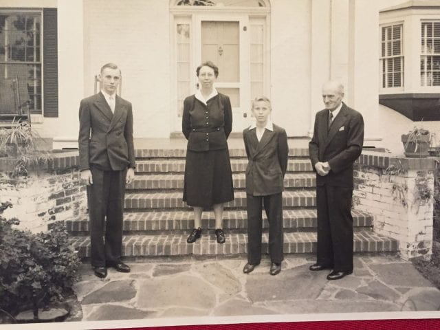 Palmer, Stella, Hartman and Henry Hotz in front of 533 N. Razorback Road, about 1940