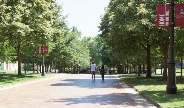 Students Walking on the University of Arkansas campus