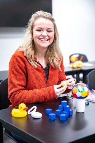 Occupational Therapy, Danielle Glenn with toys