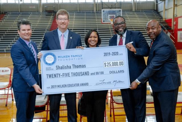 Shalisha Thomas, Milken, with big check