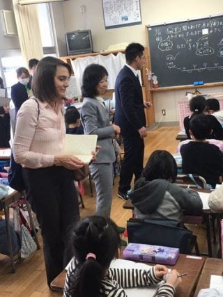 U of A Professor Vicki Collet, left, with Dr. Nanae Matsuo from Chiba University during a Lesson Study in Chiba, Japan.