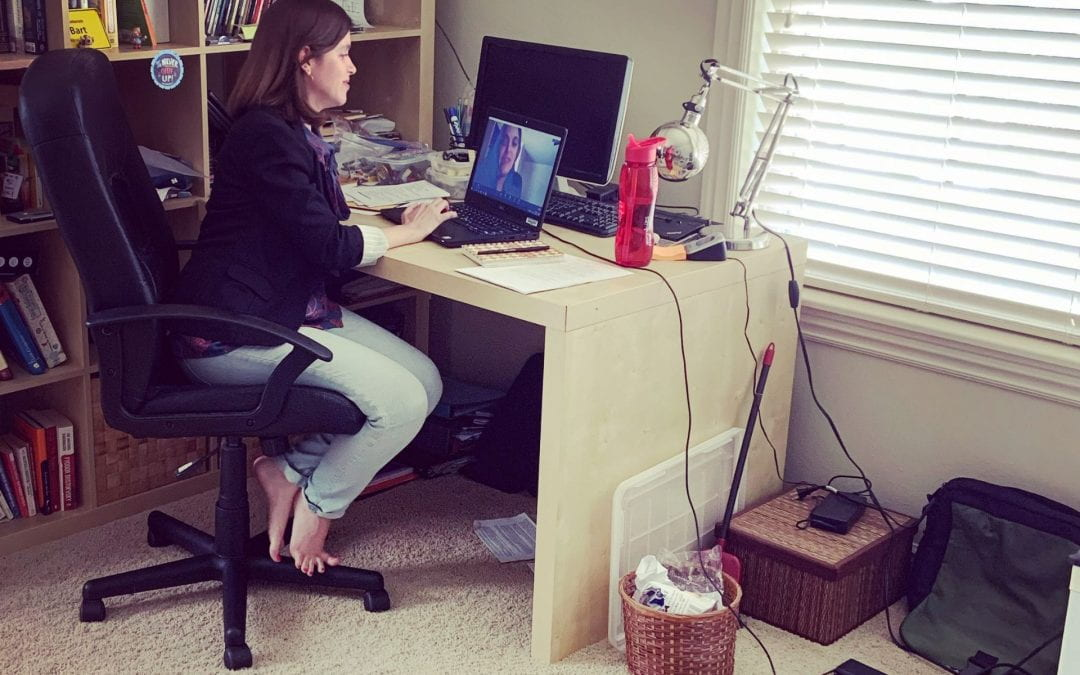 Gema Zamarro, working from home during pandemic