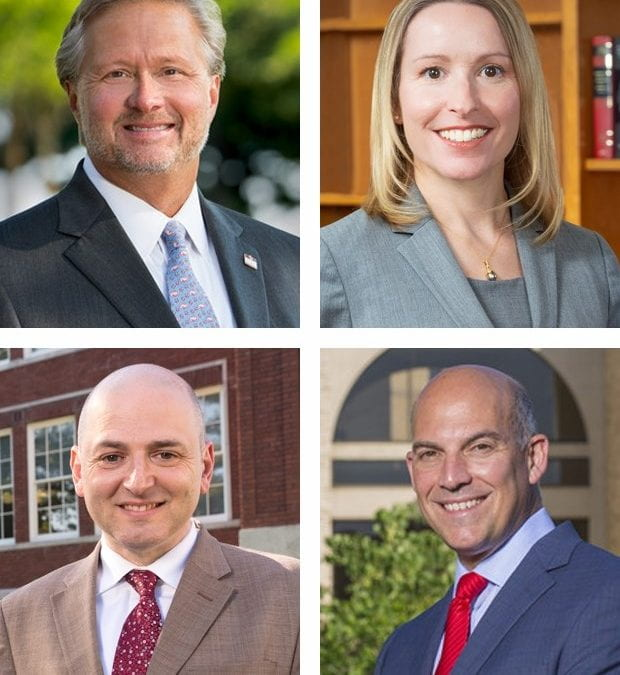 From top left: deans John English of the College of Engineering and Margaret McCabe of the School of Law; below: Brian Primack of the College of Education and Health Professions, and Matt Waller of the Sam M. Walton College of Business.