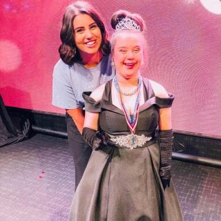 Special Education Teacher Maddie Stinson with an Arkansas Miss Amazing Pageant participant