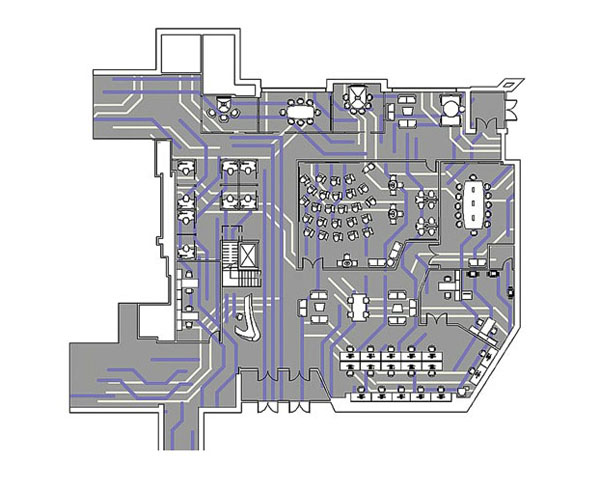 A design by Emily Owen and Paige Mason for a university's educational center promotes an efficient and proficient flow of the learning process. Their plan for the building's first floor literally resembles a computer circuit board.