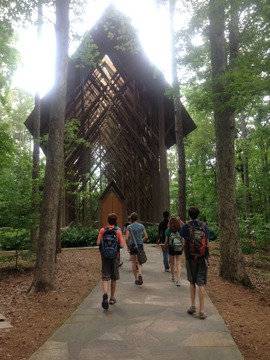 Design Camp participants tour Anthony Chapel at Garvan Woodland Gardens in Hot Springs.