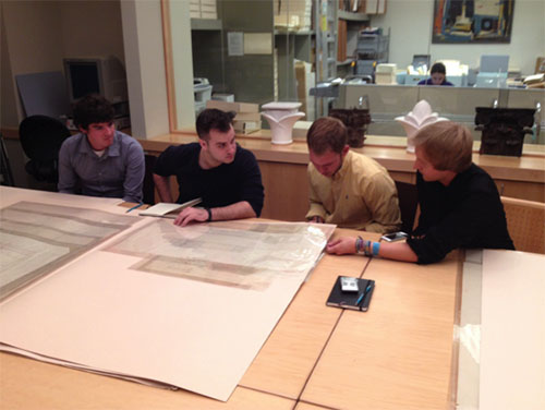 Architecture students conduct research in the papers of Frank Lloyd Wright, which are housed in the Avery Library Archive at Columbia University in New York.