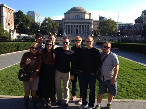 From left, Paulina Paz, Ryan Hamrick, Ayesha Erkin, Grant Gilliard, Andrew Schalk, Kyle Heflin, Alex Little and Brian Robison pose for a photo on the campus of Columbia University during a class field trip to New York.
