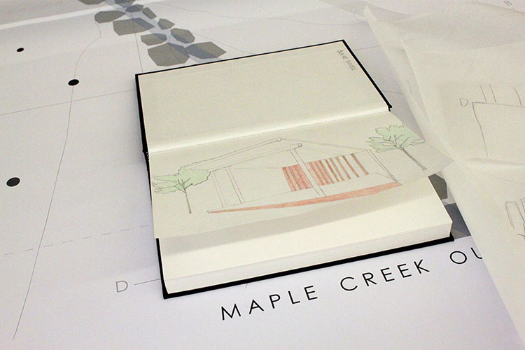 A sketched project proposal for the Maple Creek Outdoor Classroom. (Photo by Julia Trupp)