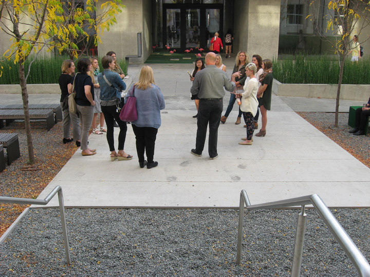 Natalie Vitek and Kelsey Winter's design includes walking through gravel, sitting on an artificial-grass-covered bench and walking through pink flamingoes. (Photo by Mattie Bailey)