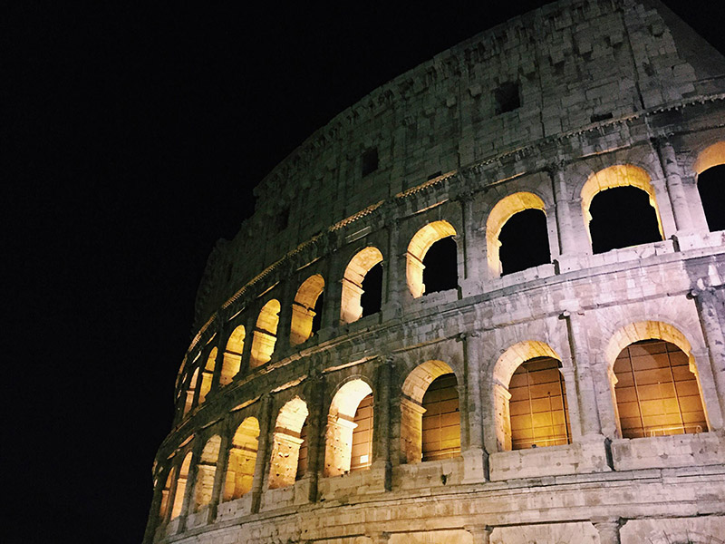 A nighttime shot of the Colosseum, which is one of Walsh's favorite views in Rome. She's taken fewer photos of Rome this time around.