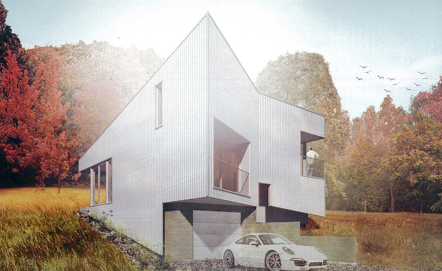 Hillside Rock House, to be located on a dramatically 3/4-acre wooded site in south Fayetteville. (Project is under construction.)