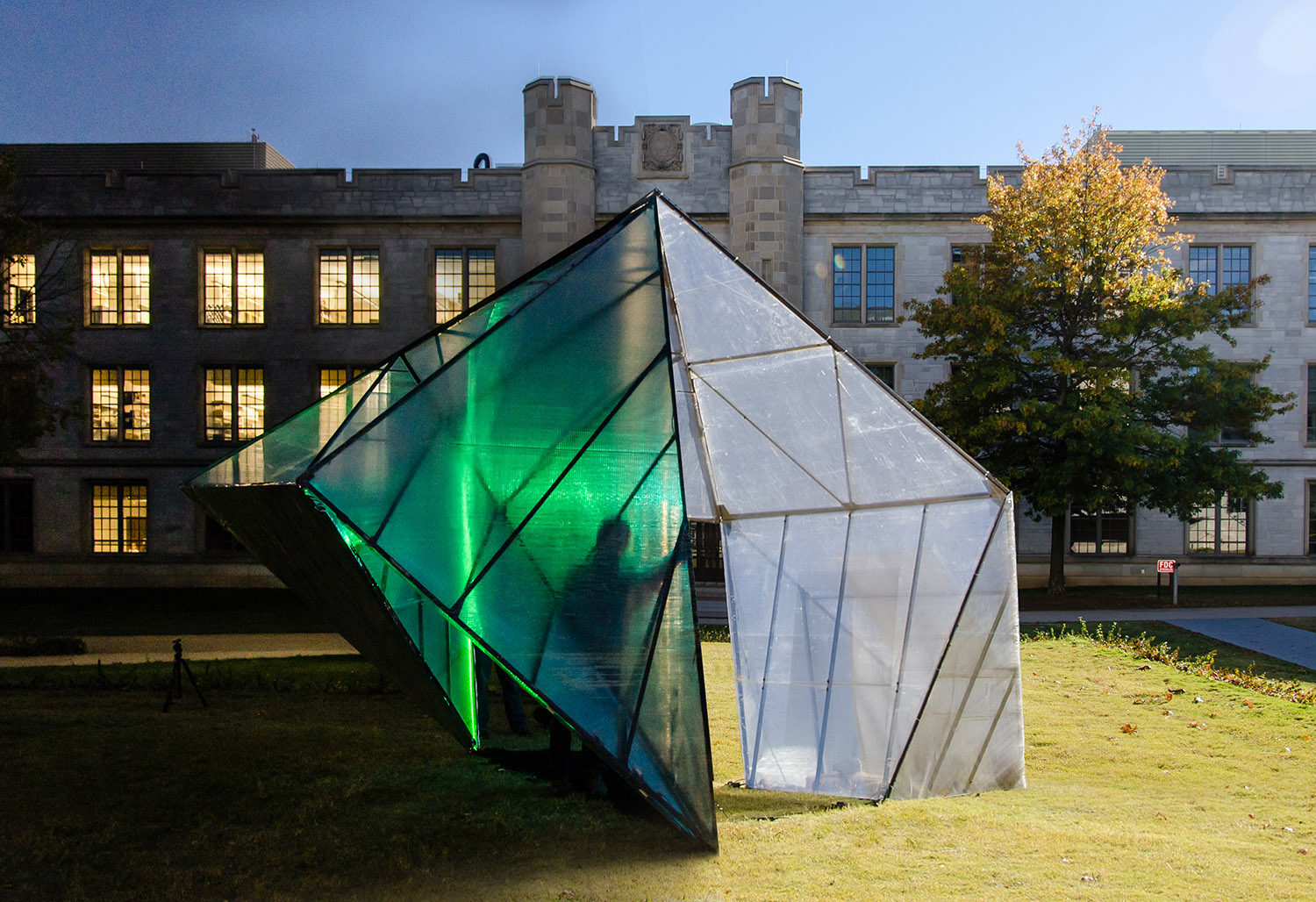 """Super Sukkah, a temporary installation that was accepted into the """"2014 Sukkah City 2014: Between Absence and Presence"""" competition at Washington University in St. Louis."""