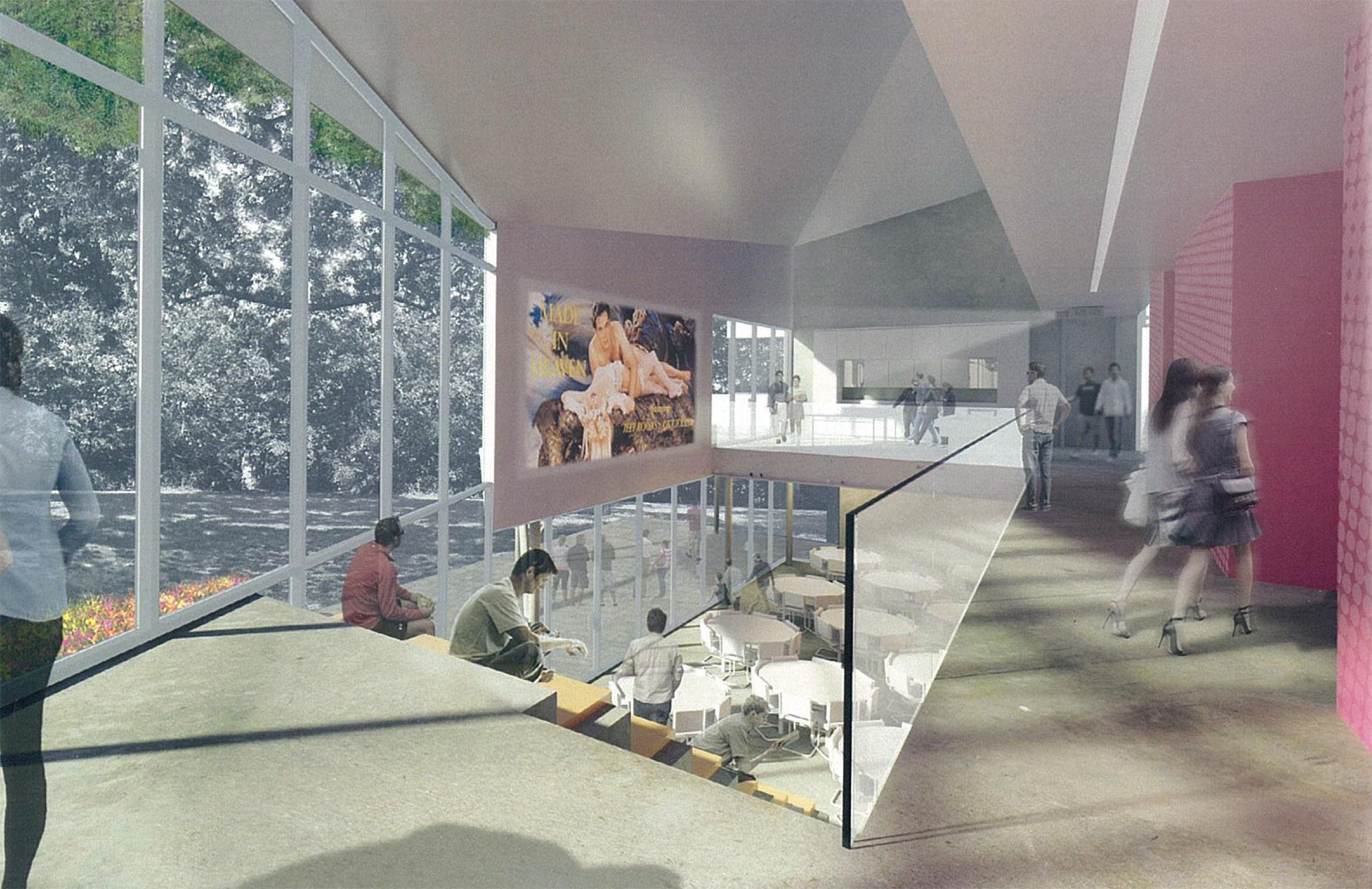 The Hedge, a proposed Baptist Mission Center serving the University of Arkansas. (Schematic design; unbuilt)