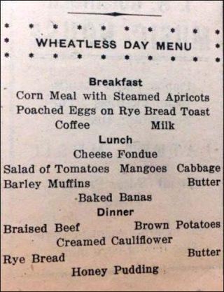 Wheatless menu.