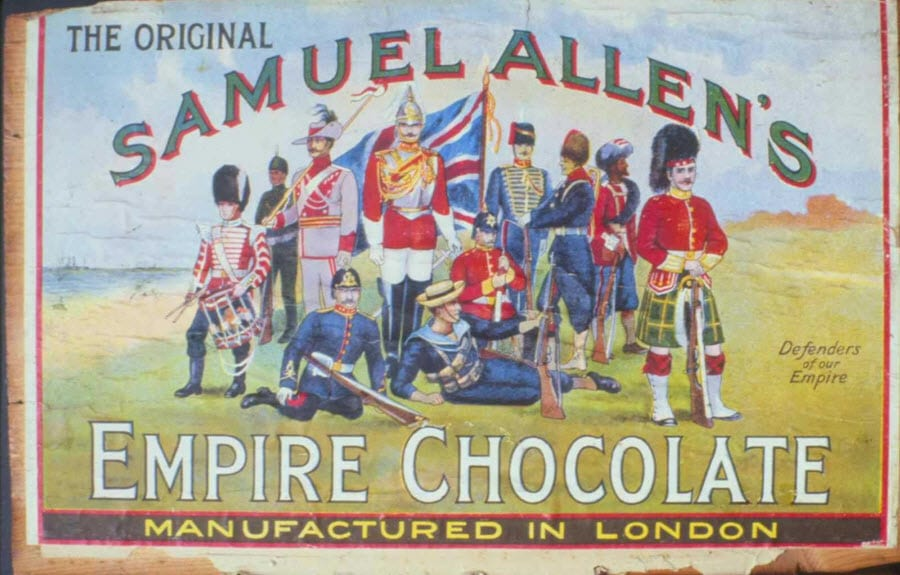 The Original Samuel Allen's Empire Chocolate - 'Defenders of our Empire', 1915. From Global Commodoties