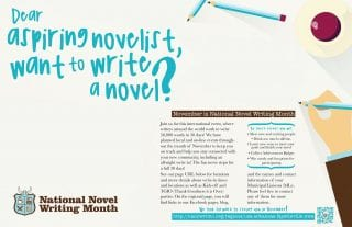 Libraries to Host Write-Ins for National Novel Writing Month