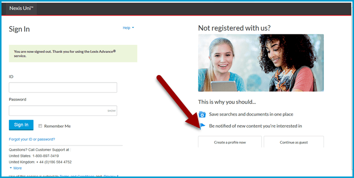 Creating a Nexis Uni account