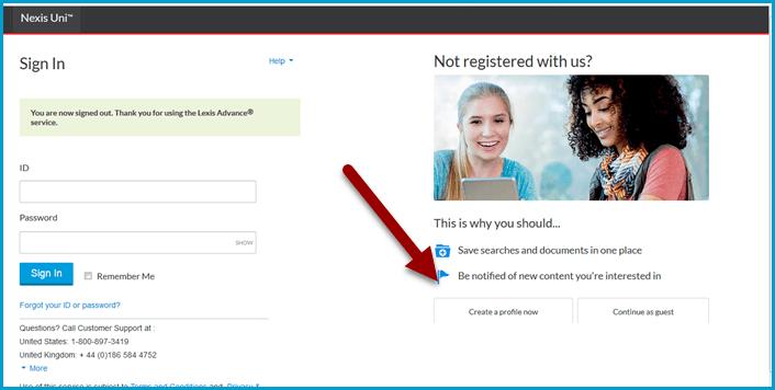 Creating a Nexis Uni account