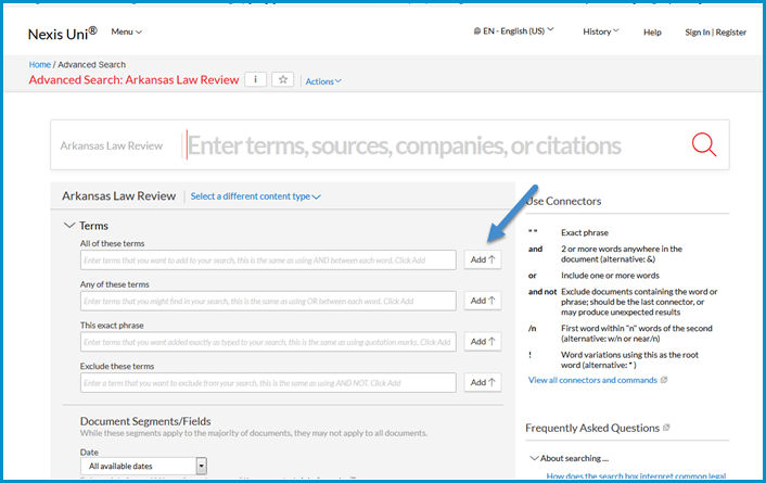 Nexis Uni Advanced Search- use the ADD button to add terms to your search