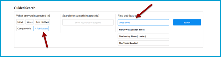 Nexis Uni Guided Search. Note the placement of the publication search box.