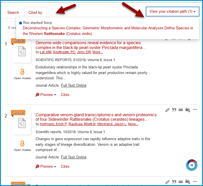 Use the tabs to navigate between your original search and cited by or cited articles
