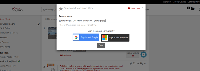 QuickSearch saved search function