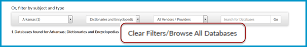 Use the Clear Filters / Browse all Databases button to reset your list.