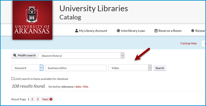 Limit to video in online catalog