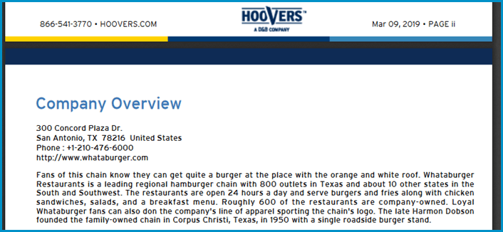 Hoover's Company Profile excerpt for Whatburger