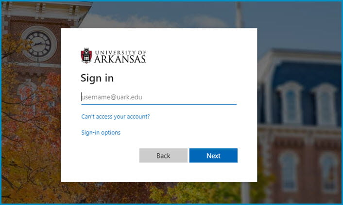 UARK Sigle sign on screen