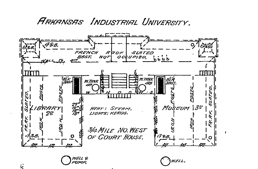 Digital Sanborn Maps, Fayetteville, 1886: Detail of Old Main on the campus of Arkansas Industrial University