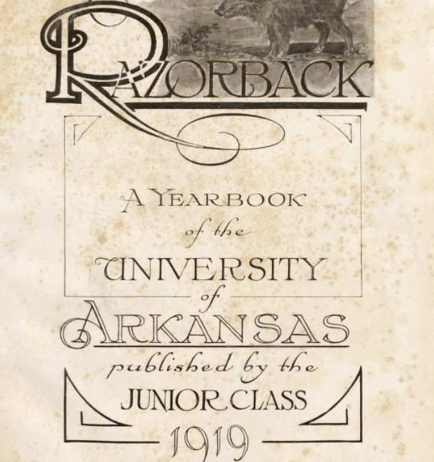 title page of the 1919 Razorback yearbook