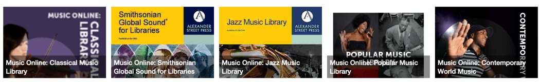 Music Online banner showing compenent collections: Classical, Global Sound, Jazz, World Music, and Contemporary Pop