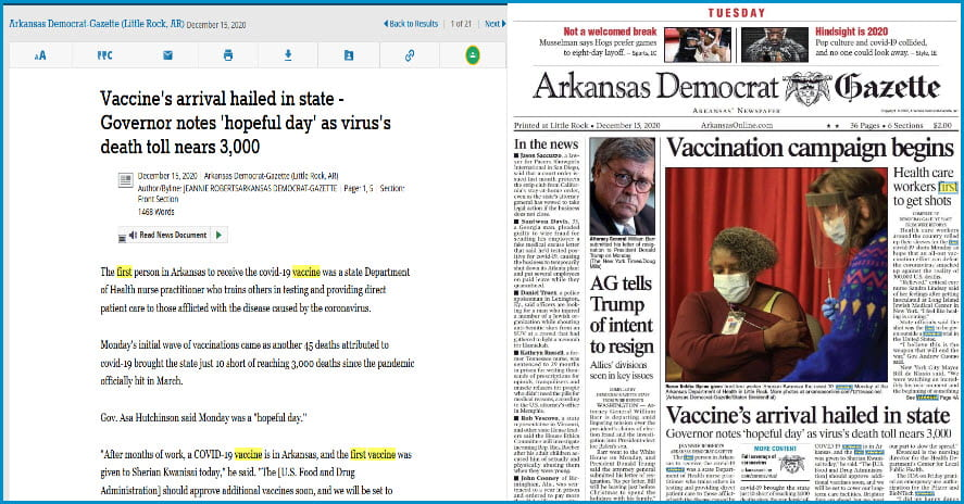 Arkansas Democrat-Gazette showing text and image versions side by side.