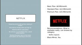 Netflix logo, red letters and black background with descriptions of this service