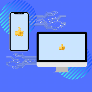 Phone and computer screen with thumbs up on them