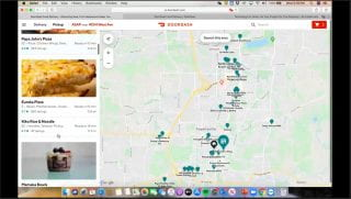 The food delivery app, Door Dash, check out screen