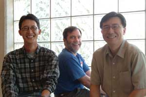 From left, Jin-Woo Kim, assistant professor of biological engineering, Russell Deaton, professor of computer science and computer engineering and Steve Tung, assistant professor of mechanical engineering