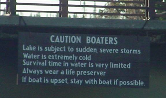Cold water caution sign at Yellowstone Park.