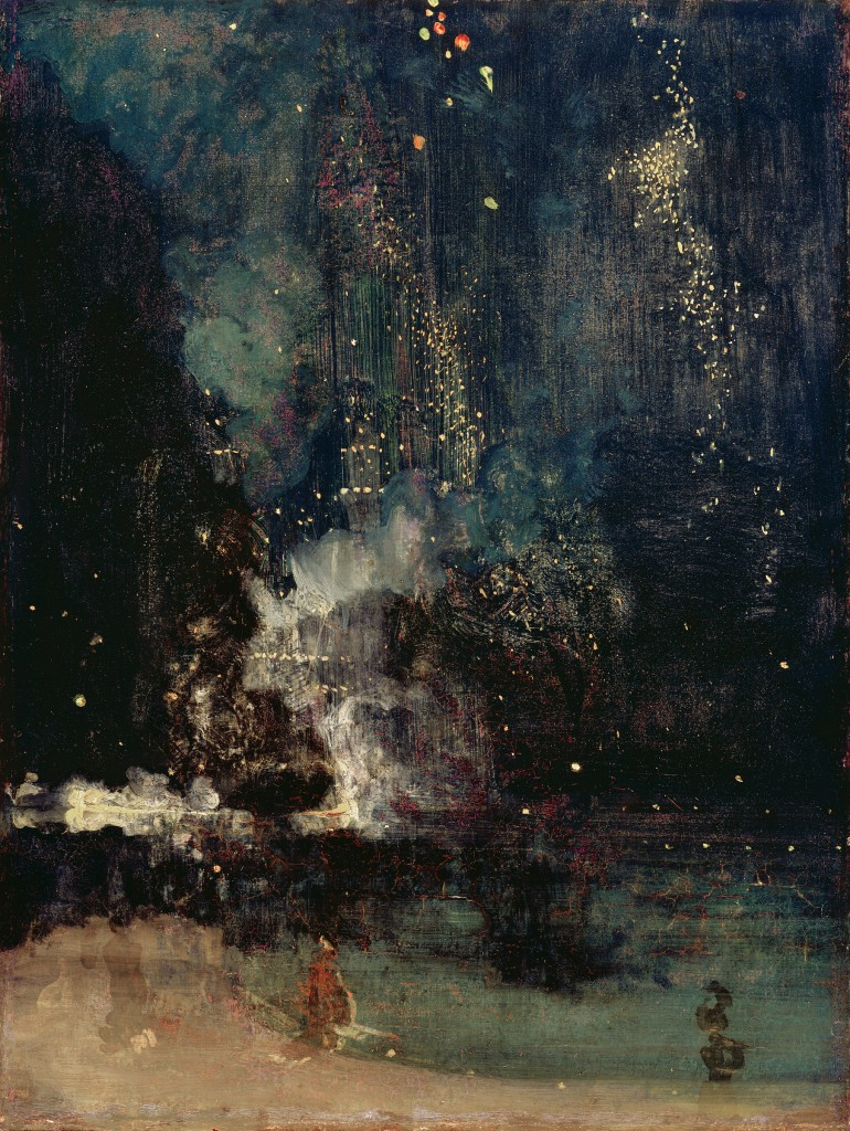 Nocture in Black and Gold: The Falling Rocket, James McNeill Whistler, ca. 1875, oil on panel. Detroit Institute of the Arts