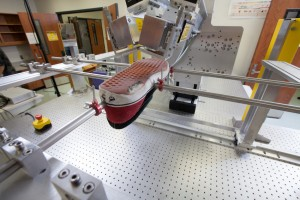a sneaker being scanned by the terahertz device