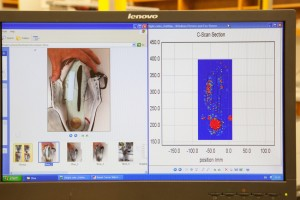 A screen showing items hidden in a show and the image produced by the imaging system.