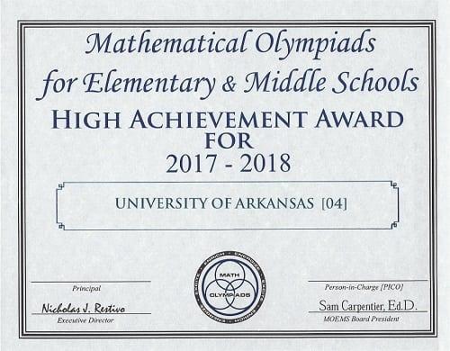 U of A Team Scores 'High Team Achievement' in International Math