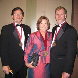 Ric Cooper (left), Trish Brown Joyner (center) and Bill Joyner (right) at the 2009 Towers of Old Main event.