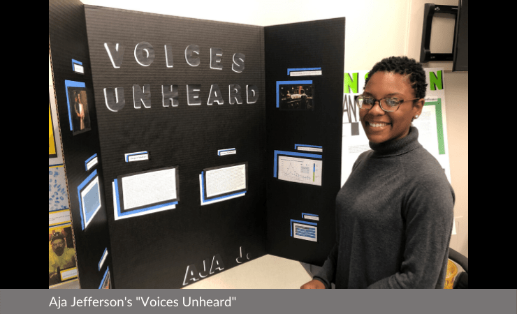 "Aja Jefferson displayed ""Voices Unheard"""